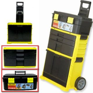 NEW 32 MOBILE PLASTIC TOOL BOX CHEST TROLLEY CART ORGANIZER STORAGE