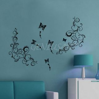 Details about DIY Vine Butterfly Flower Tree PVC Stickers Wall Decal