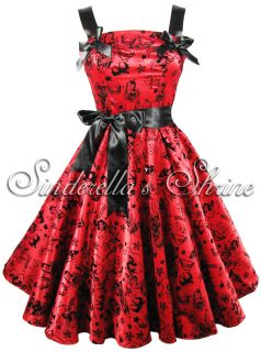 Hell Bunny Bright Red Tattoo Flocked Satin 50s Party Evening Dress XS 4XL 6 20