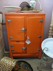 Antique Old Vintage Metal Ice Box Refrigerator Refurbished Cabinet