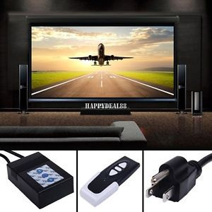 "120"" Electric Motorized Remote Projection Screen Movie Projector Black Matt HD23"