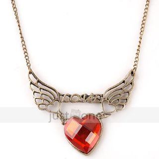 Vintage Women Lady Girl Love Heart Red Stone Angle Wings Pendant Necklace Chain