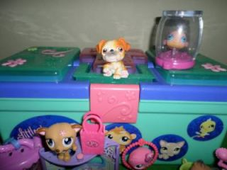 Littlest Pet Shop Tackle Box Storage Dachshund Pets Accesories Food Lot
