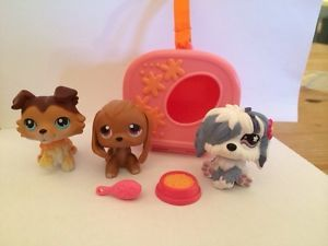Littlest Pet Shop Hasbro Lot Shih Tzu Dachshund Puppy Food Brush Carrier