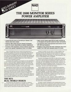 NAD 2600 Monitor Series Power Amp Brochure Original