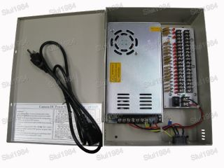 High Amps CCTV Power Supply 18 CH Security Cameras 12VDC 25A Power Supply
