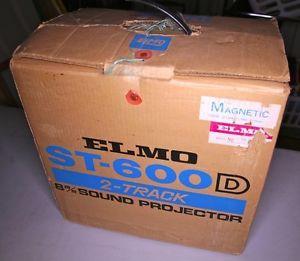 Elmo Super 8mm Sound Film Projector St 600 D 2 Track Stereo w Accessories Box