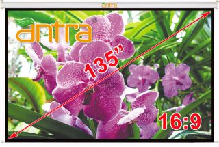 "Antra 135"" 16 9 Electric Motorized Projector Projection Screen Remote Matt Grey"