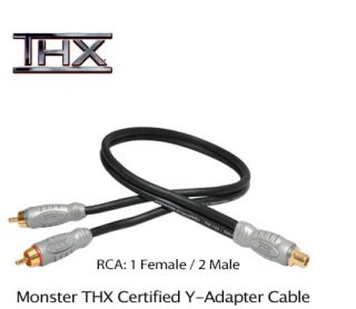 Monster THX Certified Y Adapter Audio Subwoofer Cable RCA 1 Female to 2 Male