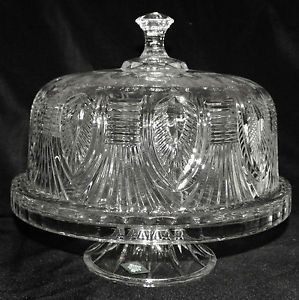 Shannon Godinger Crystal Domed Cake Plate Punch Bowl Cake Stand w Servers
