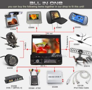 """ES812US 7"""" 1 DIN in Dash HD Touch Screen Car DVD Player GPS Navigation iPod TV"""