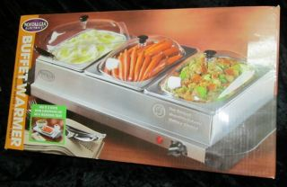Buffet Server Food Warming Tray 3 Station Nostalgia Electrics New