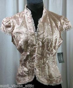 Bisou Bisou Capped Short Sleeve Blouse Shirt Nude Size 6 Small s Office Work