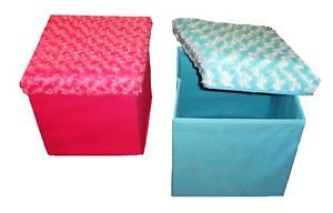 Faux Fur Storage Ottoman Footstool Box Chair Children Blue Pink Purple Gold