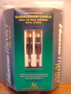 Acoustic Research Subwoofer Cable 25 ft Home Theater Pro Series New in Package