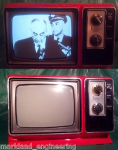 "Nice Zenith 9"" Red Orange Retro Vintage 1970s TV Set Video Input RF Converter"