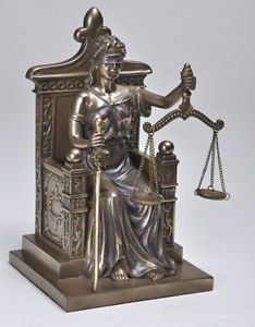 Seated Law Justice Throne Lady La Justica Statue Dike Figurine Greek Scales