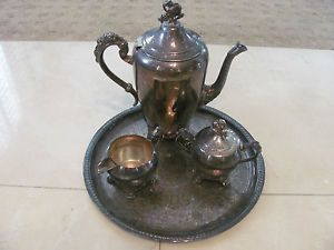 5 PC Silver Plated Tea Coffee Server Set Silverplated