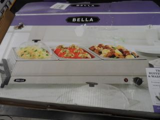 Bella Triple Buffet Server 1 5 Qt Electric Food Warming Covered Trays