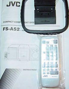 JVC Shelf CD Stereo System Remote Control RM SFSA52J w Manual FS A52 and Antenna