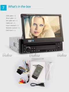 "Single 1 DIN 7"" Car Stereo DVD CD Player Radio MP3 Multi Touch iPod Bluetooth TV"