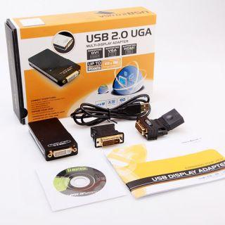 USB 2 0 UGA to VGA DVI HDMI Multi Display Monitor Graphic Adapter Converter