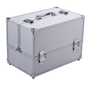 "14"" Cosmetics Makeup Jewelry Train Travel Case Make Up Organizer Box Silver"