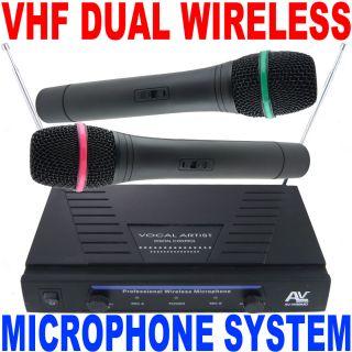 AV Pro Duo Dual VHF High Performance 2 Wireless Microphone System Free USA SHIP