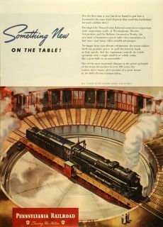 1945 Ad Pennsylvania Railroad Train Locomotive Rail Track Railway Turntable
