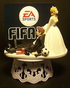 Video Game Soccer FIFA Funny Groom Wedding Cake Topper
