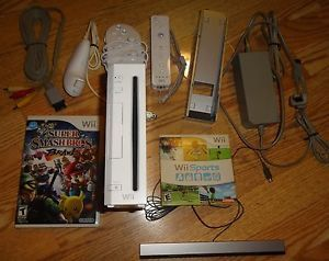 Wii Console 2 Controllers Nunchuck Super Smash Bros Brawl Wii Sports Lot