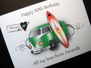 Personalised camper Van Handmade Birthday Card