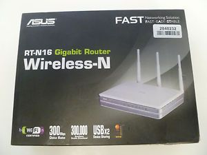 Asus RT N16 Mbps 4 Port Gigabit Wireless N300 Internet Router w USB Storage