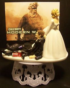 "Video Game "" Modern Warfare 2 or 3 "" Funny Wedding Cake Topper Grooms Cake"