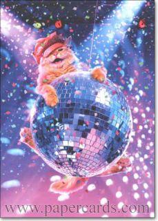 Cat Swinging on Disco Ball Funny Birthday Card Greeting Card by Avanti Press