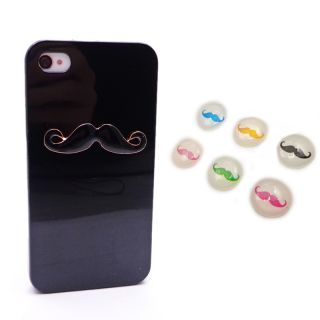 6pcs Home Button Sexy Chaplin Dumb Show 3D Mustache Case Cover for iPhone 4 4S