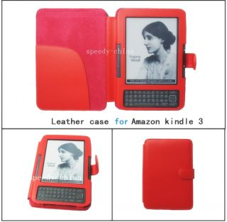Kindle 3 eBook Leather Case Cover Jacket Red
