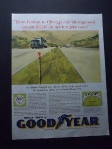 1959 Goodyear Semi Truck Tires All States Freight Akron Oh Art Vintage Print Ad