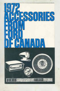 1972 Ford Car Truck Accessories Brochure Canada Mustang Thunderbird Pinto WT7685