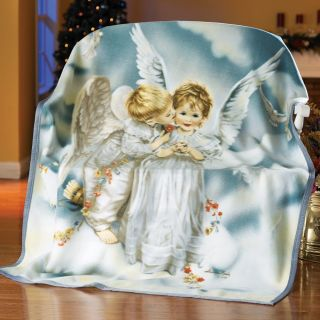 "Sandra Kuck Kissing Angel Fleece Throw Blanket 50"" x 62"" Home Accent Sofa Bed"