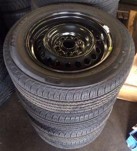 "15"" Honda Civic 2013 OE Black Steel Wheels 4 Rims Firestone Tires"