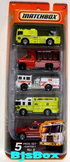 Matchbox 2010 Fire Truck 5 Pack Pumper Ladder Rescue