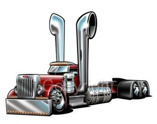Peterbilt Big Rig Semi Truck Cartoon Tshirt 1027 Freight Hauler Cartoontees