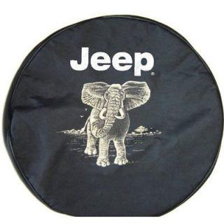Sparecover® Brawny Series Jeep Logo 32 Elephant Onheavy Black Denim Tire Cover