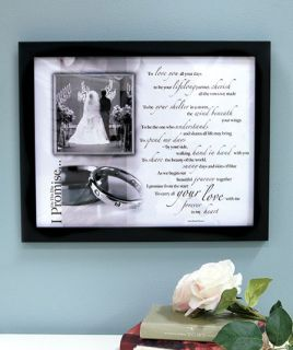 I Promise Wedding Photo Frame Bride Groom Picture Poem Shower Gift Wall Accent