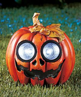 Pumpkin Halloween Solar Power Lighted Garden Yard Porch Lawn Outdoor Statue New