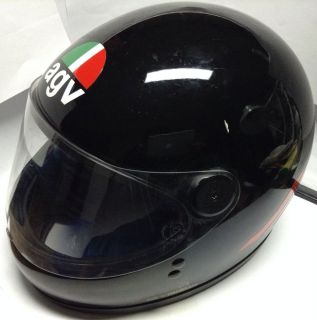 Vintage 1985 agv Motorcycle Full Face Black Helmet Casque de de Moto Noir