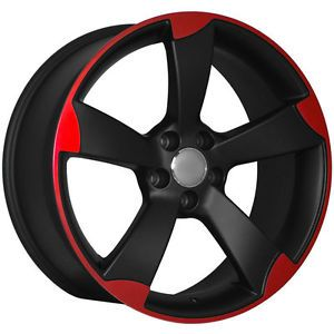 "18"" RS3 Style Matte Black Machined Red Wheels Rims Fit Audi A3 A4 A6 S4 B8"