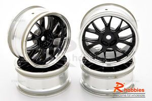 1 10 RC R C Racing Touring Drift Car Metallic 14 Spoke Wheels Rims 4pcs Black