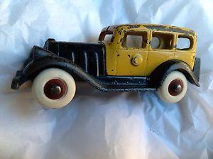 Antique Hubley Figureal Cast Iron Toy Car Rubber Wheels